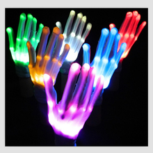 Arsmundi Party Supplies Colorful LED Gloves Rave Light Finger Lighting Flashing Gloves Skeleton Gloves Holloween Christmas Gift