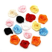 New Product 25PCS 2cm Satin Ribbon Rosettes Fabric Flower Bow Appliques for Wedding Decor DIY Sewing Accessories