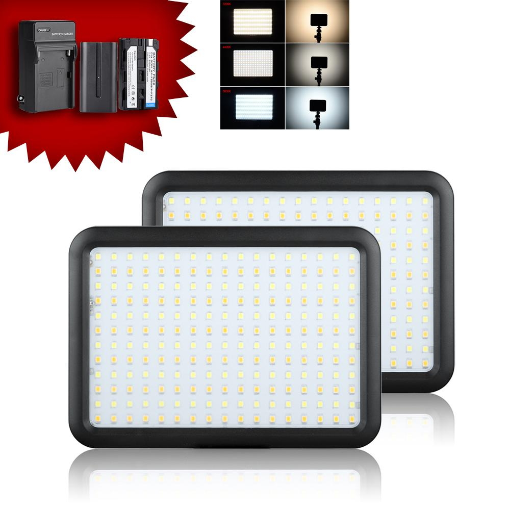2pcs/lot Led Video Light Panel  Bi-color Temperature 3200K-5600K 204 PCS LED Photo Camera Studio Lighting +2 Batteries + Charger<br><br>Aliexpress