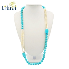 Lii Ji Freshwater Pearl,Dye Blue Color Turquoise Fashion Unique Sweater Long Necklace(China)