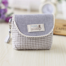 Cotton plaid fresh women mini organizer shorts wallets small money pouches carteiras bolsas feminina bolsos mujeres for girls