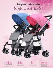 Aiqi baby strollers twins stroller Light and separable twin baby stroller only 4.9 kg one set travel carriage(China)