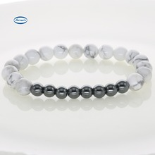 Howlite Bead Bracelets & Bangles for Women Men Elastic Rope Natural Stone Strand Bracelets With Hematite Jewelry