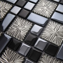 Black Electro Plating White Flower Crystal Glass mosaic tiles kitchen backsplash bathroom brick puzzle wall sticker(China)