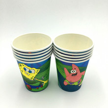10pcs/lot Spongebob cups kids birthday party supplies spongebob paper glass happy birthday party princess spongebob glasses(China)