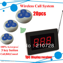 DHL Freeshipping Restaurant serving equipments Calling system of 20 waterproof button and 1 Electronic waiter pager