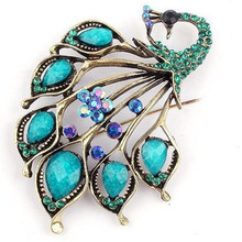 1 Pc Antique Gold Blue Stone Peacock Brooch Pin Resin Brooches Jewelry Garment Decoration Accessories