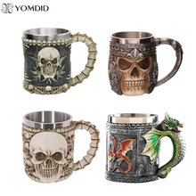 5 Design Creative Double Wall Stainless Steel 3D Skull Mugs Coffee Mug Skull Knight Tankard Dragon Drinking Cup Canecas Copo(China)