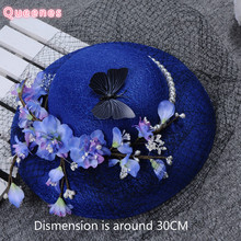Royal Blue Birdcage Wedding Hat Floral Butterfly Pearl Veil Fascinator For Women Plush Velvet Ladies Party Bride Headdress New(China)