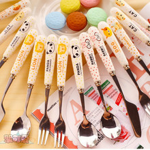Cute Animal Spoons Fork Tableware Stainless Steel Ceramics Handle Travel  for Family Baby Children C8