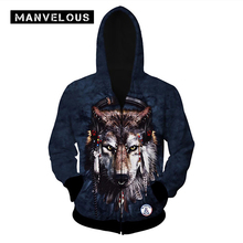 Manvelous Gothic Hoodies Men Polyester Loose Hooded Single Cardigan Wolf Print Color Block Fashion Brand 3 XL Sweatshirts Mens(China)