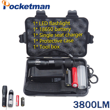 3800LM Torche Lampe CREE XM-L T6 LED Flashligh Waterproof Zoomable Torch for 18650 Rechargeable Battery Set Powerful Flashlight(China)