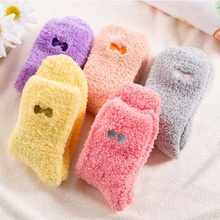 Hot Female Christmas Gift Candy Color Bow Thickening Velvet Sweet Winter Socks Women's Thermal Warm