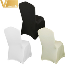 10pcs/lot Black/Ivory/White Lycra Chair Cover For Wedding Party Event Banquet Spandex Chair Cover Decor Home Decoration Supplies(China)