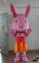 Lovely Pink Rabbit Mascot Costume Easter Bunny Costume free shipping