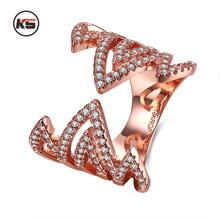 2017 New Linear Fire Design Open Finger Rings Gold color Micro Inlay CZ Shining Rings Wedding Jewelry Adjustable(China)