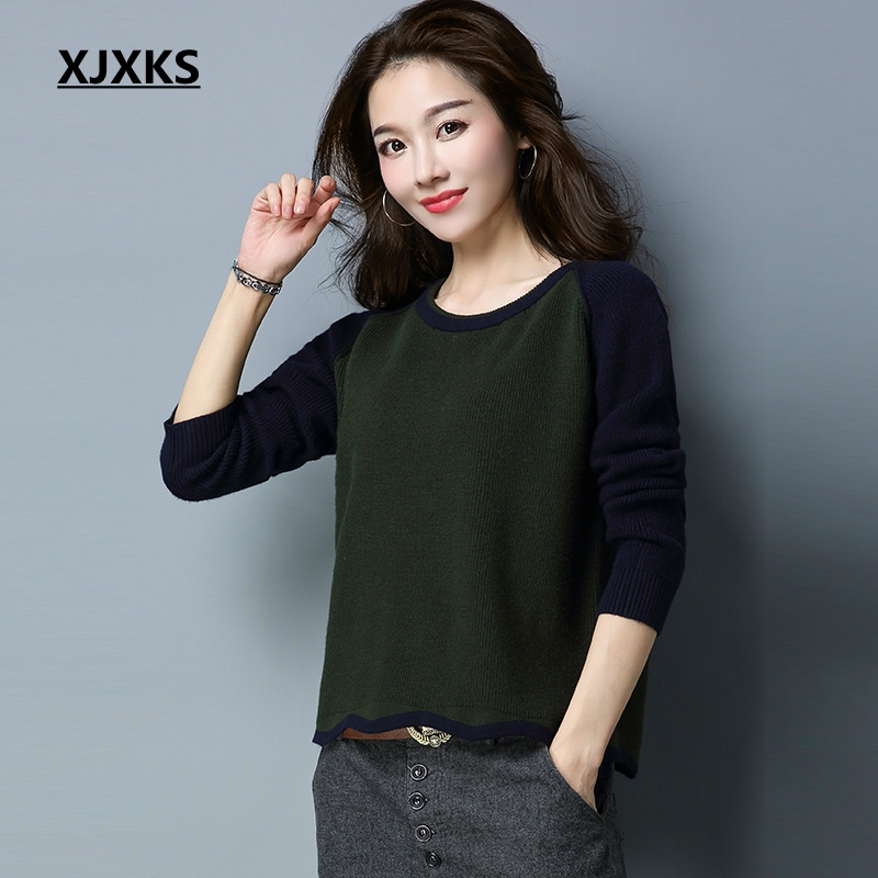 XJXKS 2019 Spring Sweaters For Women Fashion Knitwear Fall Fashion Basic Female Pullover Women Short Sweater Free Shipping