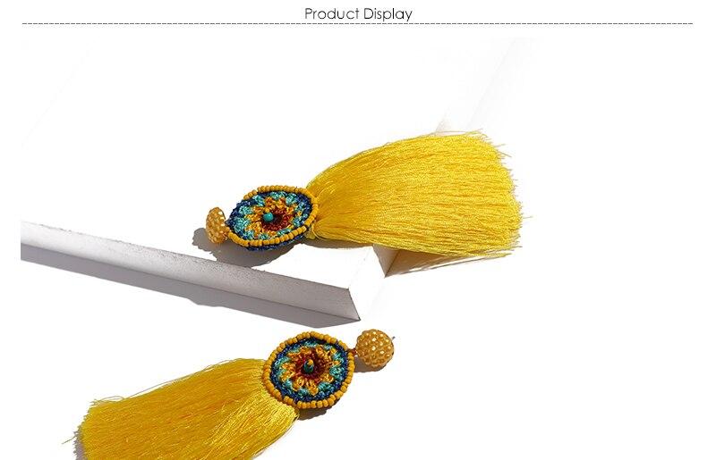 BTSETS Women Fringed Tassel Earrings Bohemian Bijoux Statement Earring Cheap Handmade Yellow Color Long Dangle Drop Earrings (1)