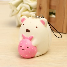 Universal Simulation Smartphone Straps Portable Cute Little Bear PU Foam Cartoon Cellphone Charm Soft Slow Rebounding Ornament(China)