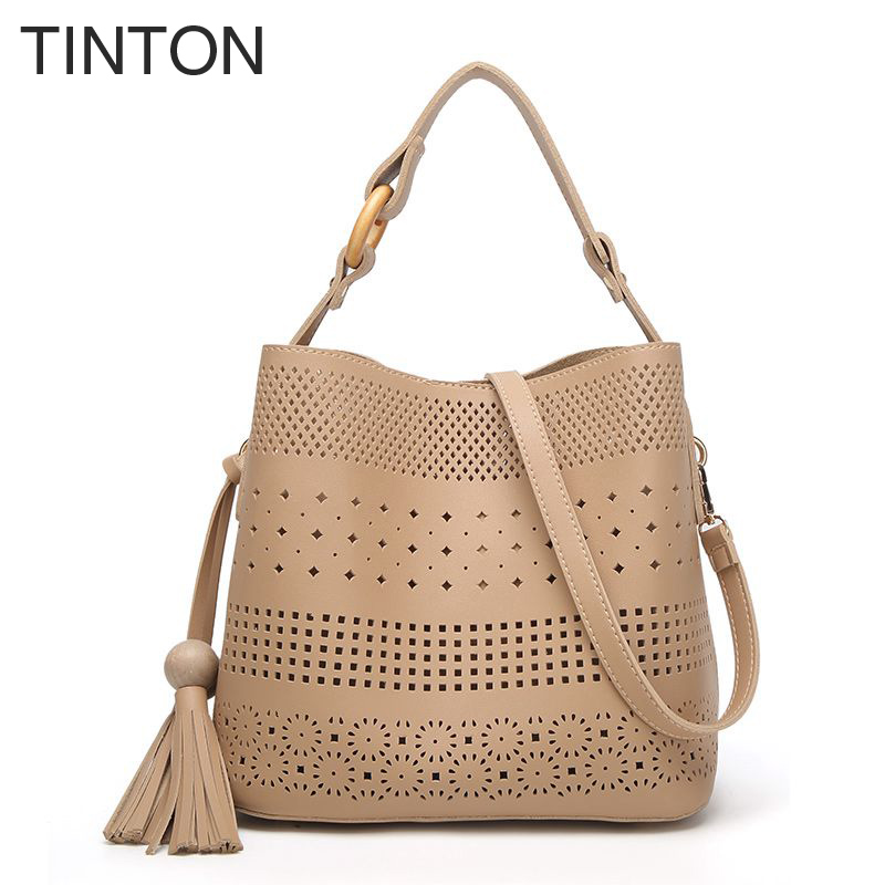 TINTON 2018 Womens Handbags New Collection Ladies Leather Hollow Handbag Messenger Bag Ladies Shoulder Bag Bucket Bag hot sell<br>
