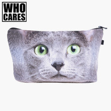 Green eye cat big Cosmetic Bags 3D Printing Travel Makeup bag Small bags Gift trousse de maquillage make up bag pencil case