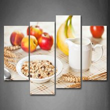 4 Panels Canvas Kitchen Fruit Pictures Print Wall Paintings Modern Painting On Art Modular Picture Decoracion(China)