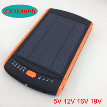Hot High-power 23000mAh Charger Laptop Backup Power Large Capacity Solar External Battery 5V 12V 16V 19V Solar Panel Power Bank