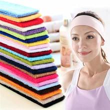 Wide Headband Stretch Hairband Elastic Hair Bands cotton terry Headband Candy Color Towels Absorb Sweat Turban(China)
