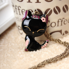 N077 Latest Fashion Retro Black Enamel Paint Smiling Girl Personalized Necklace Cute Cat Jewelry Factory Direct