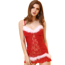 Buy Leechee Y114 Hot sale Sexy lingerie Marry Christmas uniform erotic underwear feathers sexy embroidery hollow porn costumes