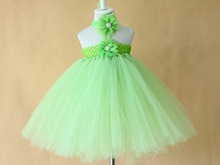 2015 kids green  tutu dress for evening banquets formal dress girls clothing,ruffles Multi-Layers with flowers headband