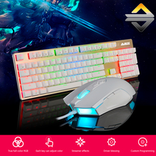 AJAZZ USB Mechanical Keyboard 104Keys RGB Lights Gaming Wired 2400DPI 7 Buttons Mouse for PC Notebook Laptop Desktop Overwatch(China)