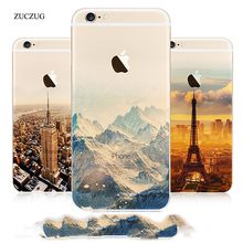 Zuczug Landscape Scenery Case For iPhone 6 6s Plus Mountain Building Sea Boat Back Cover Case For iPhone 8 7 Plus Coque Capinhas(China)