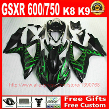 Custom Fairing kit Suzuki GSXR600 GSXR 750 08 09 10 green flames black fairings set K8 600 2008 2009 2010 Q79 - ZXMOTOR Motorparts Store store