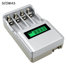 SCOMAS Recharge 4 Position AA and AAA NIMh NICd Battery Charger with Rechargeable Batteries LCD screen smart intelligent charger(China)