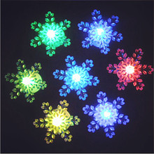 Led Wedding Dress 10pcs/lot The Colorful Snowflake Decoration Nightlight Led Color Glow Change Snow Xmas Christmas Light Lamp(China)