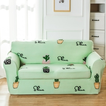 Light Green Cactus Pattern Sofa Cover For Living Room Universal Stretch Sofa Slipcover Loveseat Covering For Sofa Elastic Cover