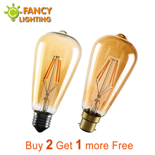 Led light bulb st64 golden led lamp e27 vintage edison filament bulb 220v power led energy saving lamp for home decor lamparas