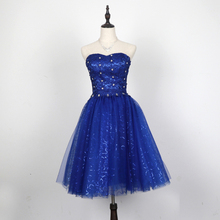 Royal Blue Lace Tulle Ball Gown Bridesmaid Dress Lace Up 2017 Short Party Dress Elegant
