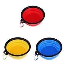 Dog Folding Collapsible Feeding Bowl Silicone Water Dish Cat Portable Feeder Puppy Pet Travel Bowls PTSP(China)