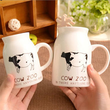 180 / 250 / 450ML kawaii Cow Zoo Milk Ceramic Mugs  Coffee Tea Mug Breakfast milk bottle baby shower birthday Christmas Gift