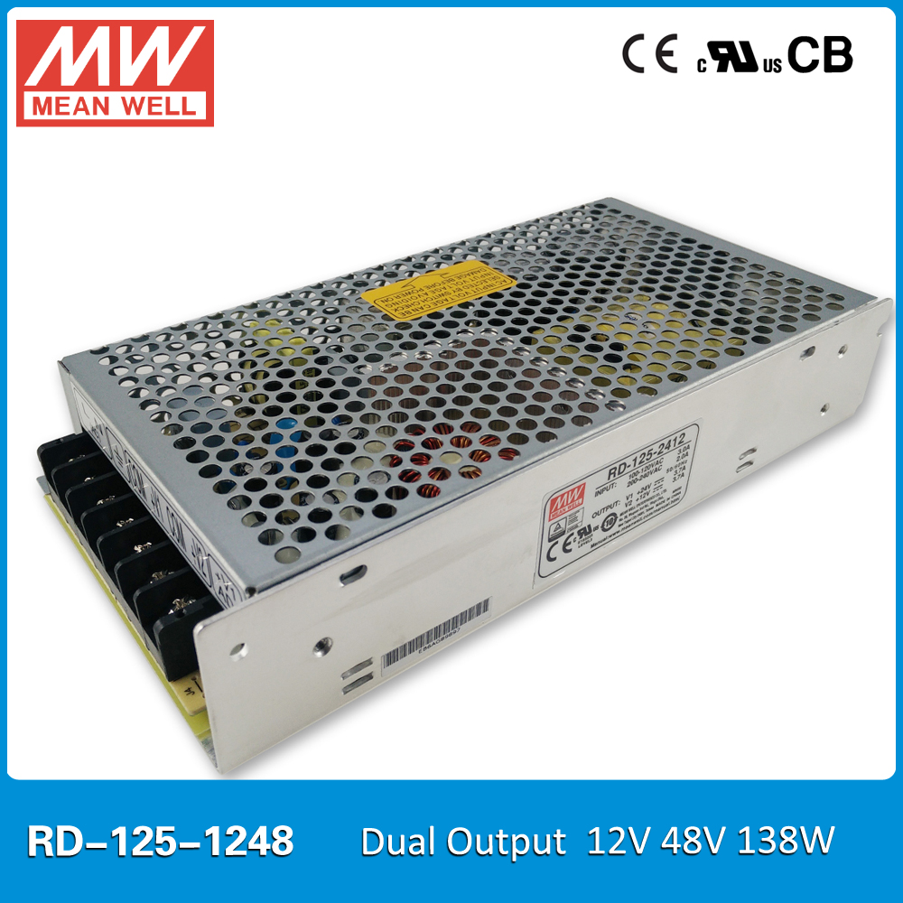 Original Mean well RD-125-1248 138W 12V 48V 2.3A Dual output Meanwell Power Supply input 85-264VAC CB UL CE approved<br>