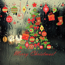 Christmas Tree Gift Bells Socks Wall Sticker Decals Party Store Window New Year Home Decor Gift Poster Mural(China)