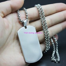 "Silver Tone Mens Dog Tag 316L Stainless Steel Polishing Pedant Free Box Chain 24"" Wholesale & Retail"