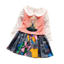 BibiCola Infant Girls Dresses autumn spring baby girls dress 2pcs set fashion children's clothes for girl party dresses(China)