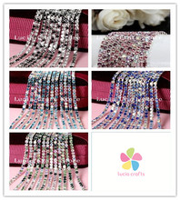 Lucia crafts 2.5mm 1m/lot AB gradient color Claw drill Garment Rhinestone DIY Handmade Material 079001014(China)