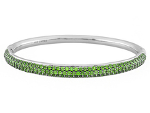 3.54ctw Round Russian Chrome Diopside Sterling Silver Hinged Bangle Bracelet