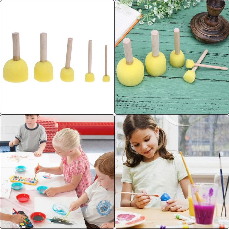 4 Pcs Children Graffiti Brush Plastic Handle Nylon Bristles Kids Painting Supply