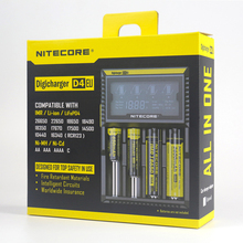 100% Original Nitecore D4 Digicharger LCD Intelligent Circuitry Global Insurance Li-ion 18650 14500 16340 26650 Battery Charger