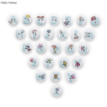 50pcs 2 Hole Bubble Alphabet Round Wood Buttons Sewing Scrapbooking Home Decor Clothing Card Making DIY 15mm(China)